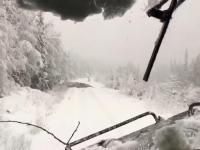 Jazda pociągiem po zaśnieżonym torowisku i po powalonych drzewach przez śnieg