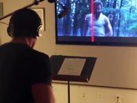 Hugh Jackman nagrywający dźwięki do filmu