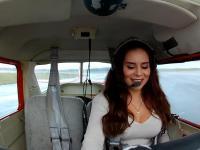 Jej pierwszy samodzielny przelot Cessną 150