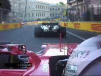 Sebastian Vettel wjeżdża w tył Hamiltona a później ze złości poprawia bokiem