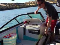 Pływający grzechotnik znajduje sposób jak wejść na łódź