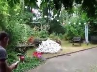 Gość rozpala ognisko w swoim przydomowym ogródku