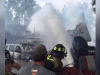 Kreatywne podejście strażaków do gaszenia pożaru gdzie nie może wóz wjechać