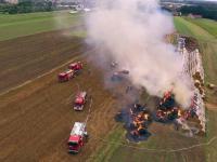 Pożar bel słomy w Oleśnie