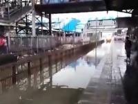 Pociąg wjeżdża na pełnej prędkości na zalany wodą peron