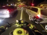 Kierowca Golfa GTI chciał się ścigać z motocyklem, ale zabrakło mu umiejętności