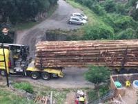 Ciężarówka z drewnem skręca na mały mostek...