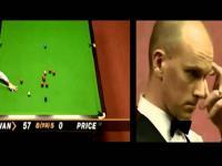 O'Sullivan's 147 vs. Ebdon's 12 (split screen)