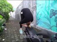 Blondynka pokazuje trik ze skuterem