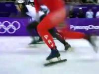 Chamskie i celowe zagranie Północnokoreańskiego łyżwiarza na Japończyku
