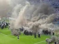 Zadyma pod koniec meczu Lech Poznań - Legia Warszawa...