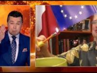 Cejrowski pali logo UE na wizji TVP INFO