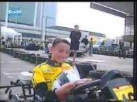 Młody Robert Kubica ściga się gokartem z amatorami. 1999 rok