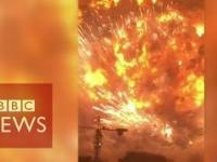 Eksplozja w mieście Tianjin uchwycona z budynku