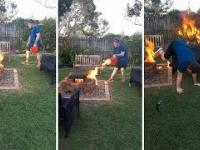 Idiota podpalił swój ogródek
