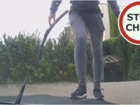 Wandal niszczy samochód - Elbląg