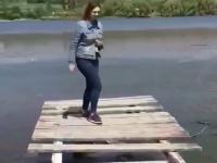 Laski skaczą po drewnianym pomoście