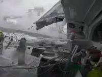 Kozacki start dronem na wzburzonej wodzie