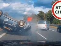 Dachowanie i wypadek na S8 - czyli po co bezpieczny odstęp między pojazdami?