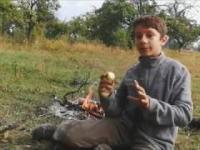 Samotny biwak w starym sadzie i śniadanie na trawie