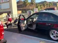 Kovieta ucieka po kolizji... demolując własne auto.