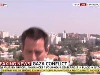 Alarm bombowy podczas transmisji na żywo z Izraela