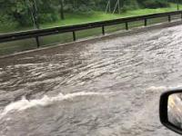 Powódź na trasa Łazienkowskiej w Warszawie