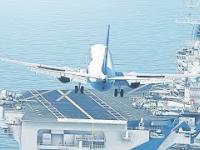 Symulacja lądowania samolotem pasażerskim na lotniskowcu