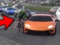 Katowice: Pijany rowerzysta wjeżdża w Lamborghini Huracan Performante