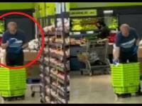 Dziwna dezynfekcja koszyków i wózków w sklepie