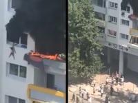 Dwoje dzieci skacze z trzeciego piętra uciekając z płonącego mieszkania