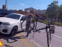 Rower kontra pirat z BMW