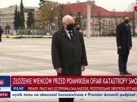 TVP przerywa program, aby pokazać jak Kaczyński poprawia szarfę na miesięcznicy