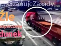 Źle zabezpieczony ładunek na samochodzie ciężarowym w Chinach