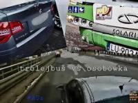 Kolizja Trolejbusu Solaris z pojazdem osobowym Citroen C5 23.12.2020 Lublin
