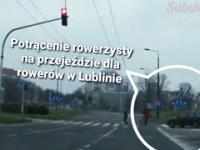 Potrącenie rowerzysty na przejeździe dla rowerów. Lublin rondo im. Romana Dmowskiego DK82
