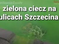Zielona ciecz na ulicach Szczecina 13.01.2021 Awaria ciepłownicza na osiedlu Reda