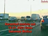 Karambol sześciu aut 18.01.2021 trasa Salomea-Wolica S8