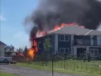 Wybuch butli z gazem w czasie pożaru