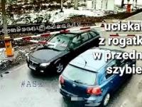 Kierowca mazdą staranował rogatki, uciekał policji ze szlabanem wbitym w przednią szybę 27.01.2021