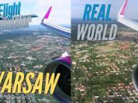 Lądowanie pasażerskiego A320 w Warszawie: symulator vs nagranie z samolotu