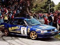 Colin McRae w Subaru Legacy RS podczas rajdu Korsyki w 1993 roku