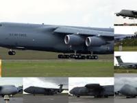 Dwa największe samoloty transportowe US Air Force na płycie lotniska w Poznaniu