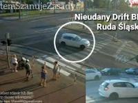 Nieudany Drift BMW na skrzyżowaniu w Ruda Śląska
