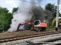 Pożar nasypu przy stacji Wałbrzych Szczawienko