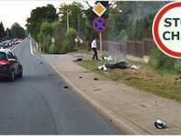 Wypadek motocyklisty w Miejscu Piastowym