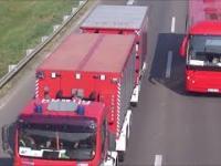 Konwój polskich strażaków jadący przez Serbię do Grecji