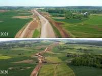 Roczny postęp prac na budowie drogi