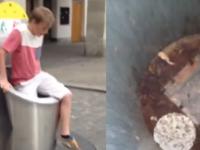 Dzieciak wpada do śmietnika