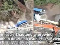 Chiny. Potężne osuwisko w sekundę zmiotło domy z powierzchni ziemi